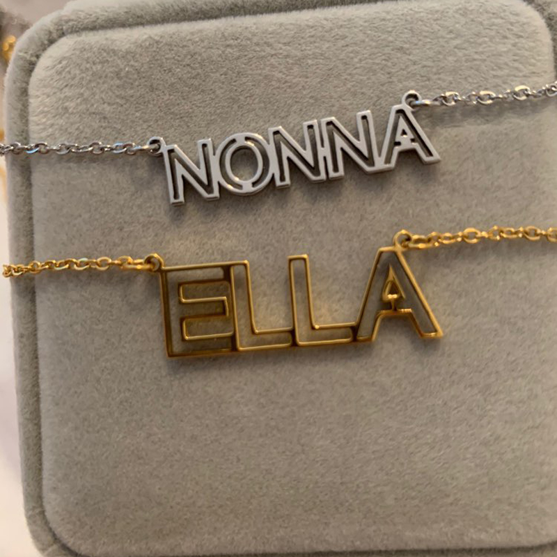 Personalized Hollow Initial Name Necklace Custom Letter Nameplate Necklaces Pendants Women Jewelry Initial Accessories Collier