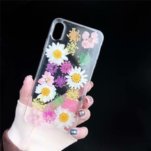 JAMULAR Real Pressed Dried Flowers Fitted Cases For iPhone 7 X XR XS MAX 8 6 6s Plus Clear Daisy Floral Phone Cover Soft Fundas