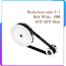GT2 Timing Belt Pulley 60teeth 20teeth 5mm/8mm Reduction 3:1/1:3 belt width 6mm for 3D printer accessories