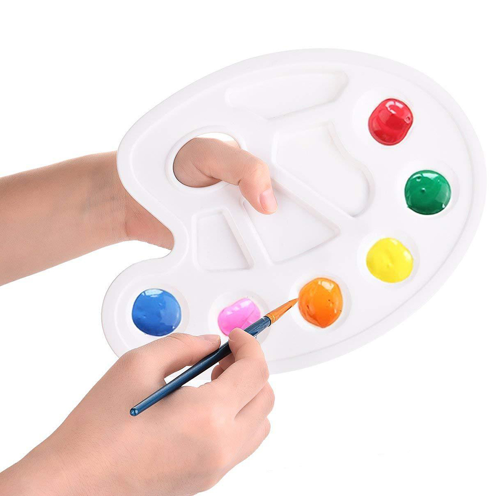Paint Plastic Drawing Tray Color Palette Oil Watercolour Colored 10 Wells Design Thumb Hole Painting Palette
