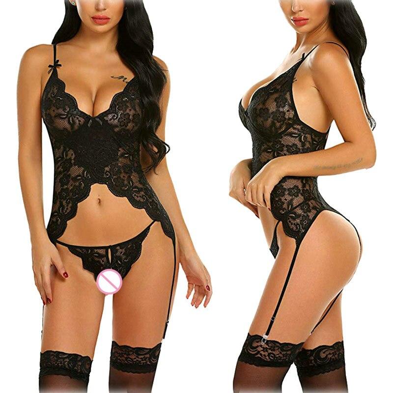 Porno sexy lingerie sexy quente laço erótico push up topo calcinha de sexo roupa de dormir roupa de noite sexy para mulher