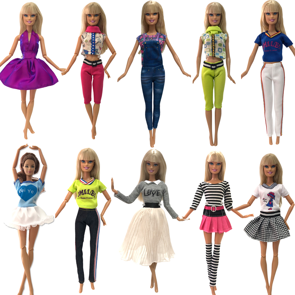 NK Newest  Doll Dress  Fashion Outfits  Mix Style  Skirt Handmade Clothes For Barbie Doll Accessories Gift Baby Toys JJ