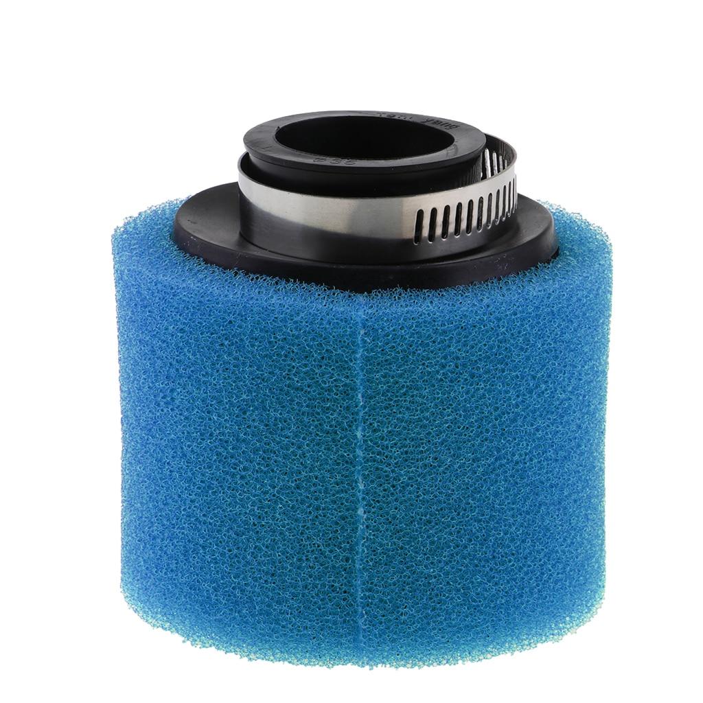BLUE 48mm Bent Angled Foam Air Filter Pod PIT PRO Trail Quad Dirt Bike ATV Buggy