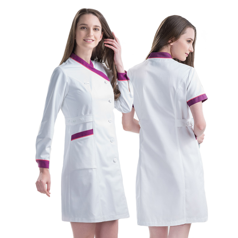 US $45.38 30% OFF|Plus Size Nurse Dress Robe Clothes for Women Medical  Scrub Clothing White Y Neck Long Sleeve SPA Beautician Work Robes  Dresses-in ...