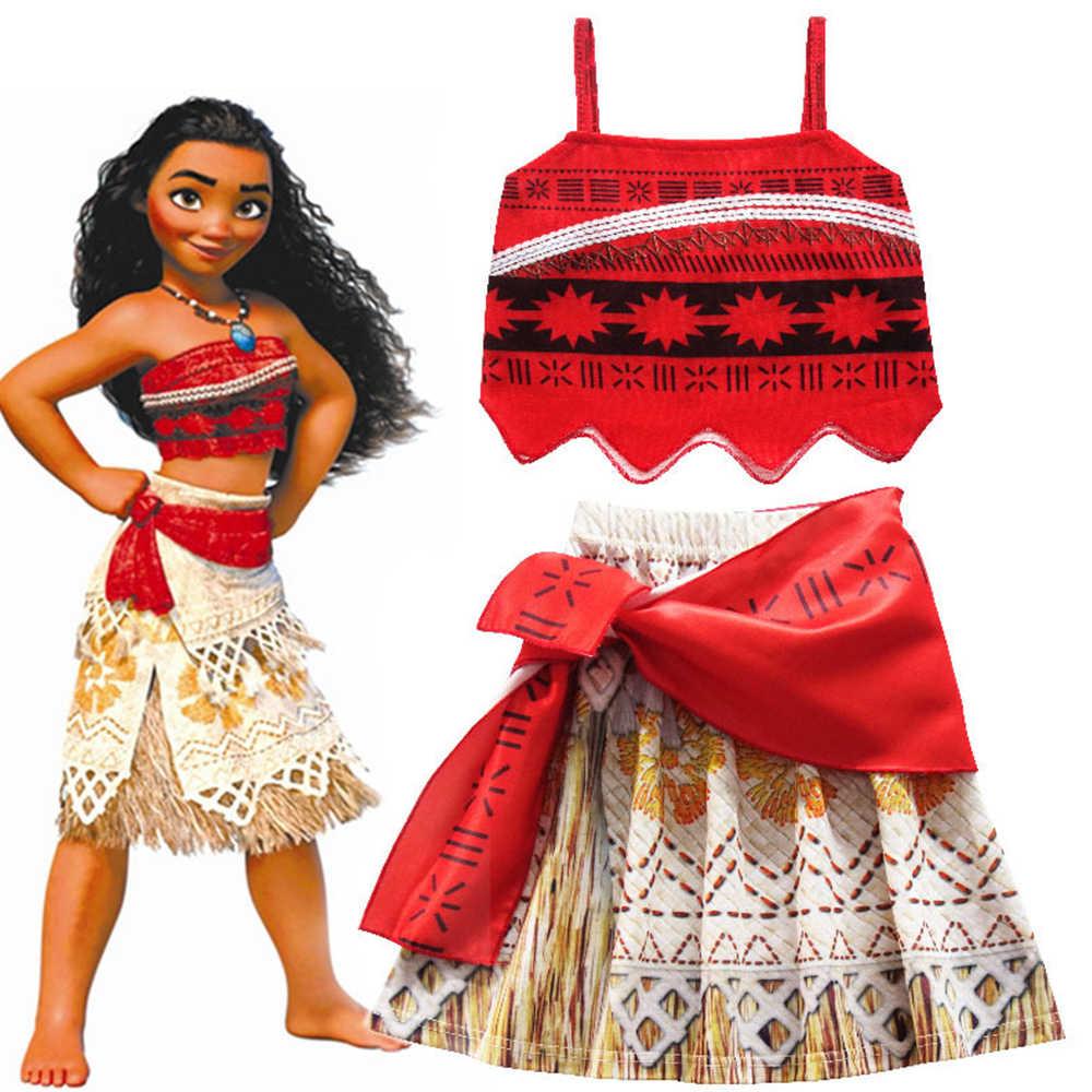 תינוקת בגדי קוספליי נסיכת שמלת Moana ילדי Vaiana ילדה מסיבת ליל כל הקדושים שמלות עם שרשרת פאת תחפושות חג המולד