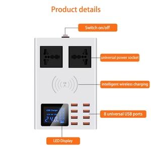 Image 2 - 8 USB bağlantı noktaları hızlı şarj soketi, led ekran ile cep telefonu duvar usb priz için iphone 6 7 8 7 artı X xiaomi