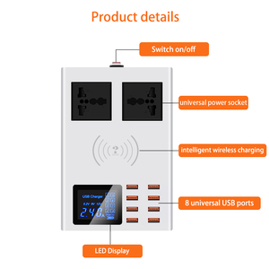 Image 2 - With 8 USB Ports fast charger socket ,with led display mobile phone wall usb outlet for iphone 6 7 8 7plus X xiaomi