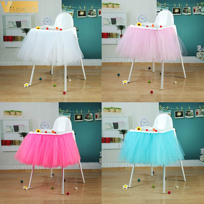 100 X 35cm High Baby Shower Tutu Tulle Table Skirts Birthday Home Textile For Table Skirting Chair Home Textiles Party Supplies