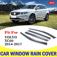 For Volvo XC60 window visor car rain shield deflectors awning trim cover exterior car styling accessories parts 2014 2017