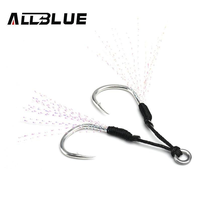 ALLBLUE 4 пар/лот металлический крюк для джига с ПЭ линией перо твердое кольцо джиггинг ложка морской крючок для 5-80 г приманки