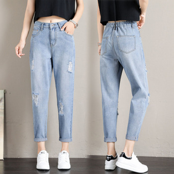 Women Ripped Denim Pants Summer Autumn High Waist Straight Jeans Pant Ankle Length Pants Breathable Trousers Ladies Denim Jeans new fashion jeans for women personality tassel hole denim ankle length pants casual female jeans straight trousers autumn
