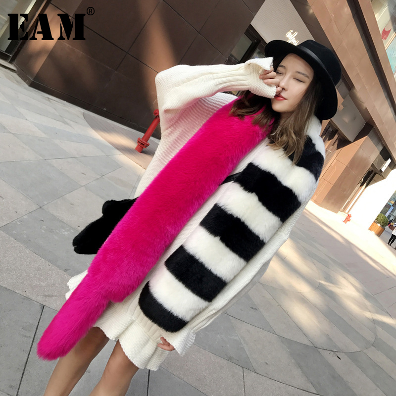 [EAM] 2019 New Autumn Winter Long Keep Warm Hit Color Spliced Personality Temperament Personality Scarf Women Fashion Tide JY882