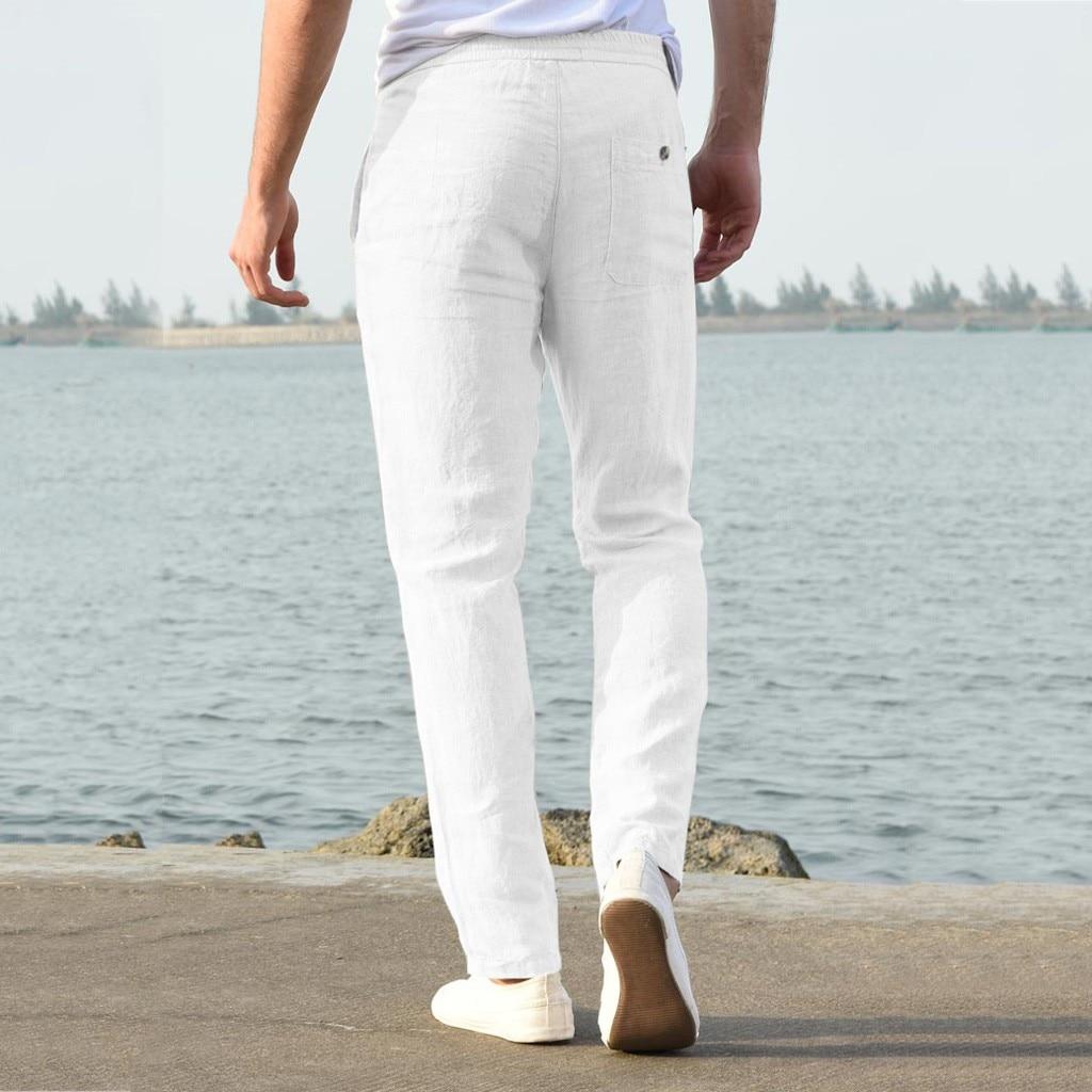 H83a2c4f73b9e47c3bbbc5f4fd39a1203r Feitong Fashion Cotton Linen Pants Men Casual Work Solid White Elastic Waist Streetwear Long Pants Trousers