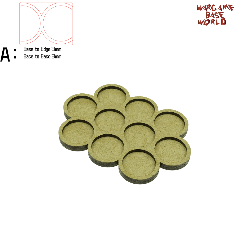 Wargame Base World - Movement Tray - 10 Bases 25mm Round - Derangements  Shape MDF