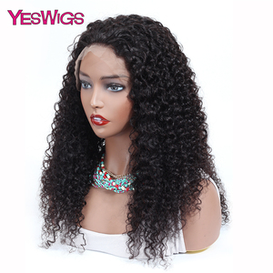 Image 3 - Kinky Curly Wigs For Women 13X4 Malaysian Curly Human Hair Wigs 130% Density YESWIGS HAIR Brown Lace Front Wig Natural Hair