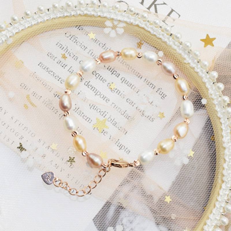 Wish Card Genuine Natural Freshwater Pearl Women Bracelets Bangles Colorful Metal Chain Fashion Jewelry Gifts for Girl Birthday
