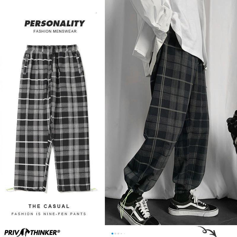 Privathinker Men's Plaid Casual Harem Pants Korean Man 2020 Loose Ankle-Length Trousers Harajuku Streetwear New Male Clothing