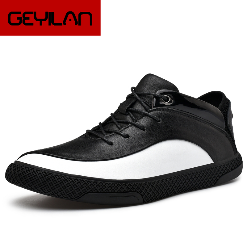 High Quality Genuine Leather Shoes Men Brand Footwear Non-slip Thick Sole Fashion Men's Casual Sneakers chaussure homme ete 2019