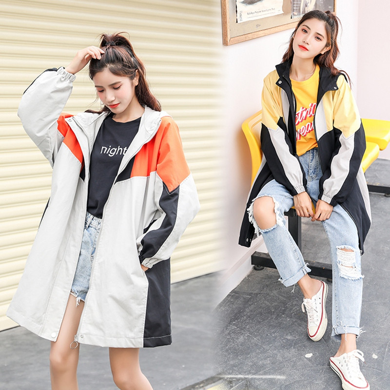 Casual Hooded Windbreaker Women's Coats 2020 Spring Autumn Clothing New Loose Casual Long Trench Coat B21