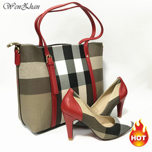 Pumps Shoes Handbag-Sets Women Pointed-Toe Lovely WENZHAN Match with 36-43 Striped-Style