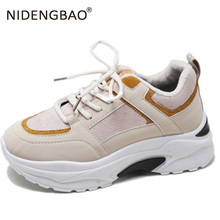 2019 Spring New Leather Women Chunky Sneakers Thick Sole Dad Shoes For Outdoor Running Sport Walking Footwear
