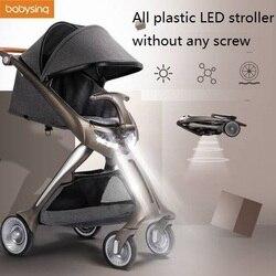 Carrito de bebé ligero LED de plástico babysing, carrito de bebé ligero portátil de alto paisaje, plegable adecuado para recién nacido