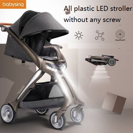 Babysing All Plastic LED Light Baby Stroller,high Landscape Portable Light Weight Kinderwagen Pram,foldable Suitable For Newborn