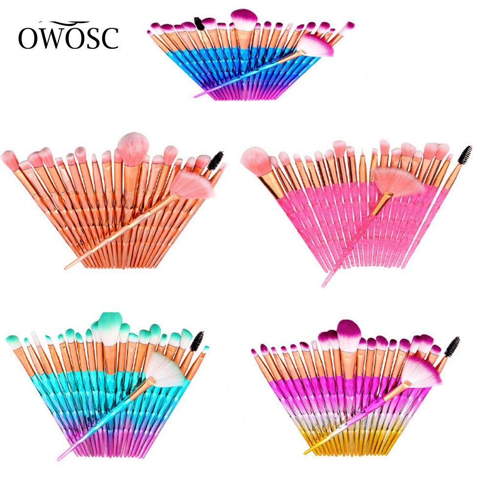 OWOSC 10/20 шт набор кистей для макияжа кисть для растушевки теней пудра для бровей, кисть для румян двойная головка чистящей щетки, Красота Make Up ...
