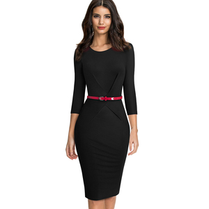 Image 3 - Nice forever Elegant Brief Solid Color Office vestidos Business Work Party Women Bodycon Autumn Dress B552
