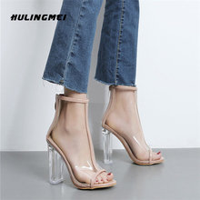 Сандалии женские прозрачные на высоком каблуке 11 см босоножки