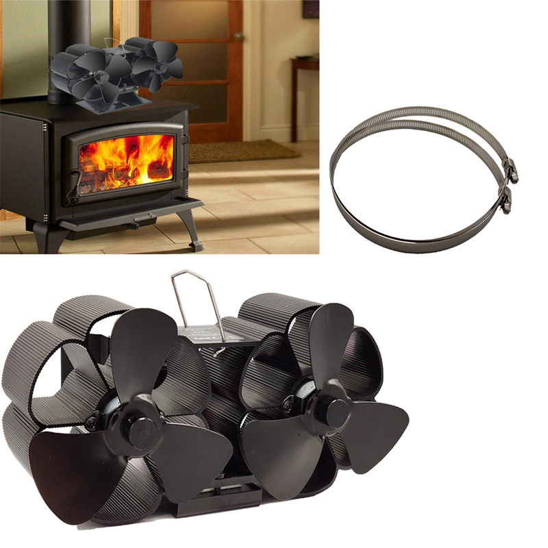 FUNN-Mini Size 8 Blade Stove Fan Silent Heat Powered Wood Log Burner Fan Fan Fireplace For Ultra Small Space
