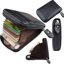 Cartera de cuero de PU genuino para hombre de moda con cierre de bloqueo RFID y tarjetero negro y azul