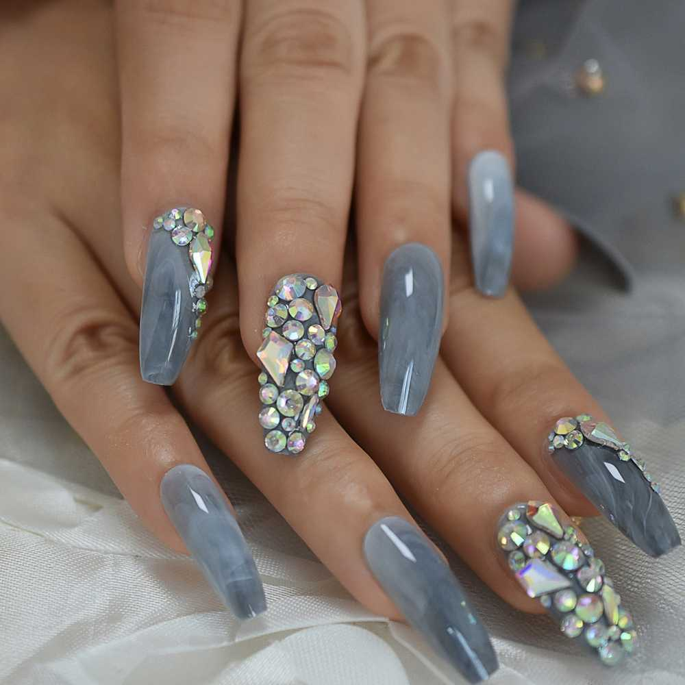 Marble Faux Ongles Pink Grey Stones Pre Designed Luxurynails Extra Long Coffin Shape Ladies Party Wedding Decoration Accessories Aliexpress