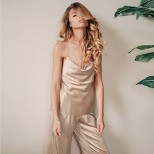 HiLoc Draped Sexy Sleepwear Satin Pajamas With Pants High Waist Spaghetti Strap Solid Two Piece Set Women Pajama 2021 Spring