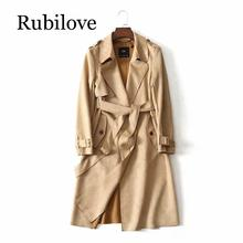 Rubilove Women Classic Solid Long Trench Coat Female Double Breasted Trench England Style Turn-down Collar Outerwear women female coat british long style elegant trench coat designer belted double breasted trench outerwear trench coat khaki