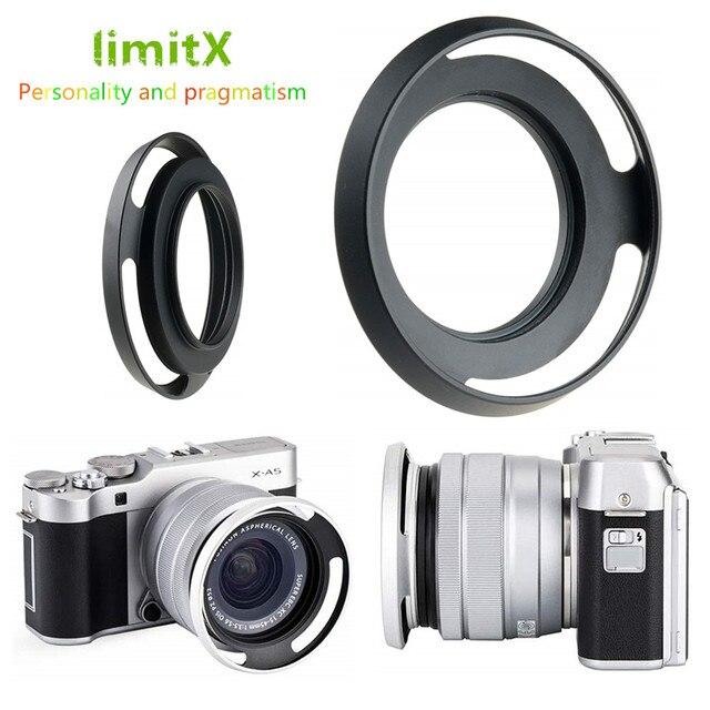 52mm Ventilé En Métal Pare soleil pour Fujifilm X T100 X T30 X A20 X A7 X A5 XA20 XA7 XA5 XT30 XT100 Caméra avec 15 45mm