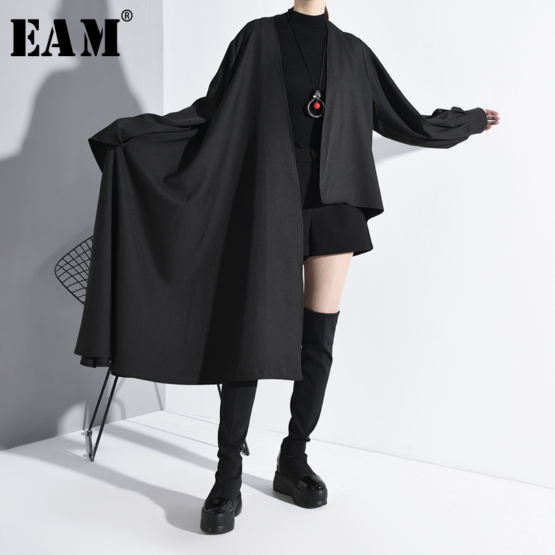[EAM] Women Black Asymmetrical Split Big SizeTrench New V-neck Long Sleeve Loose Fit Windbreaker Fashion Tide Spring 2020 A556