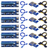 6pcs 006C PCIe 1x to 16x Express Riser Card Graphic pci-e riser Extender 60cm USB 3.0 Cable SATA to 6Pin Power for BTC mining