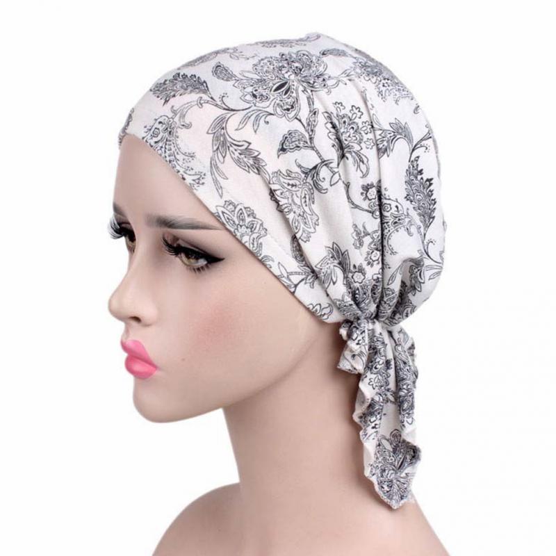 Image 3 - Printed Soft Cotton Chemo Cap Elegant Scarf Muslim Turban Adults  Women Head Wrap Fashion Elastic Cover Hat GiftWomens Hair Accessories