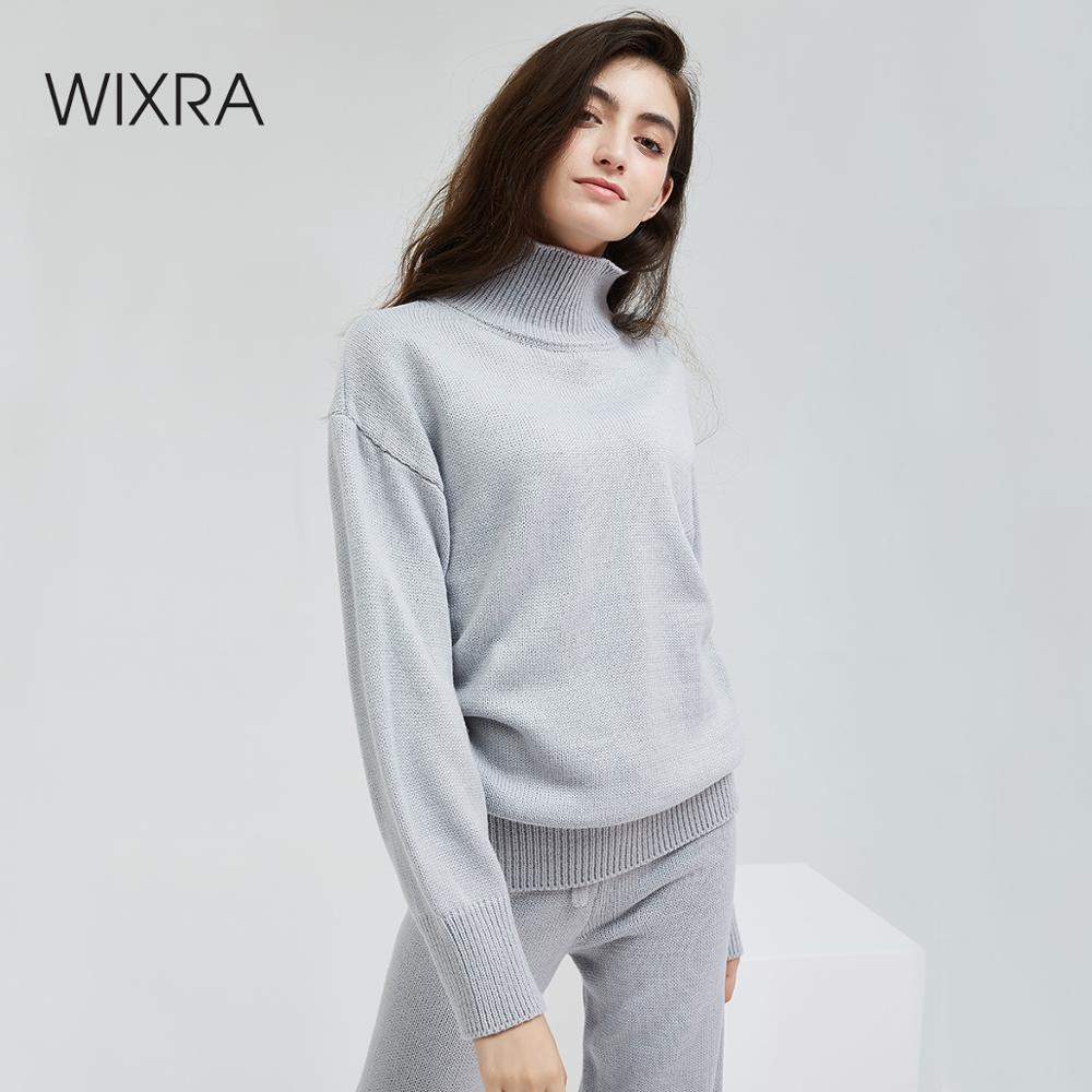 Ternos e Conjuntos Tops + Calças Wixra Casual Camisola Feminina Outono Inverno Gola Alta Manga Comprida Blusas Compridas Sólido 2 Peças Conjuntos