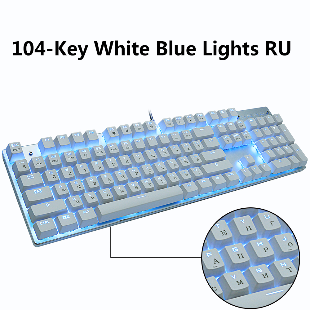 Metoo gaming Mechanical Keyboard Game Anti-ghosting Russian/US blue Black red switch Backlit Wired keyboard for pro gamer 1