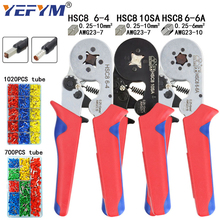 Tubular terminal crimpen werkzeuge mini elektrischen zange HSC8 10SA/6 4 0,25 10mm2 23 7AWG 6 6A 0,25 6mm2 hohe präzision clamp set
