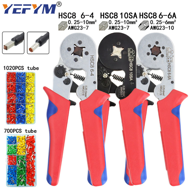 Tubular terminal crimping tools mini electrical pliers HSC8 10SA/6 4 0.25 10mm2 23 7AWG 6 6A 0.25 6mm2 high precision clamp set