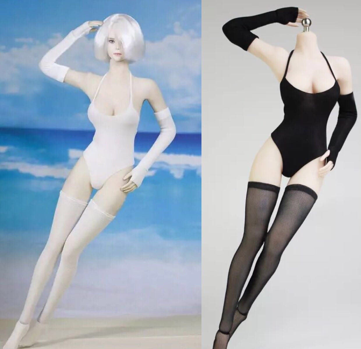 1/6 Scale Sexy Female Bikini Set NieR 2b Sister Swimsuit Stockings Sleeve Clothes Suit Model for 12''Action Figure Body