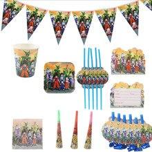 Assiettes et serviettes jetables 82 pièces à usage unique thème Dragon Ball, assiettes, gobelets, pailles, accessoires pour fête danniversaire