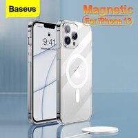 Baseus-funda magnética transparente para teléfono móvil, cubierta trasera transparente para iPhone 13 Pro 13Pro Max 2021, funda magnética de carga inalámbrica Mag