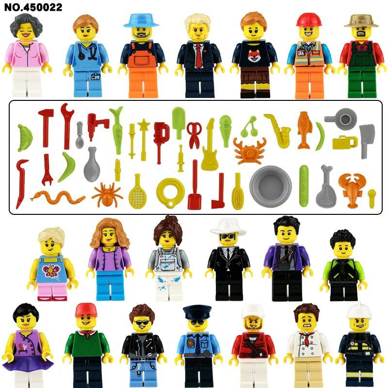 Mini aksiyon figürü oyuncakları yapı taşları setleri spor erkek itfaiyeci doktor hemşire düğün oyunları rakamlar oyuncaklar rakamlar DIY oyuncak dekorları