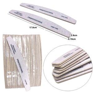 Image 2 - Lixa de unha pçs/lote, bloco de lixa para pedicure polimento de manicure pp ou madeira ferramenta profissional barco cinza 5 100/180