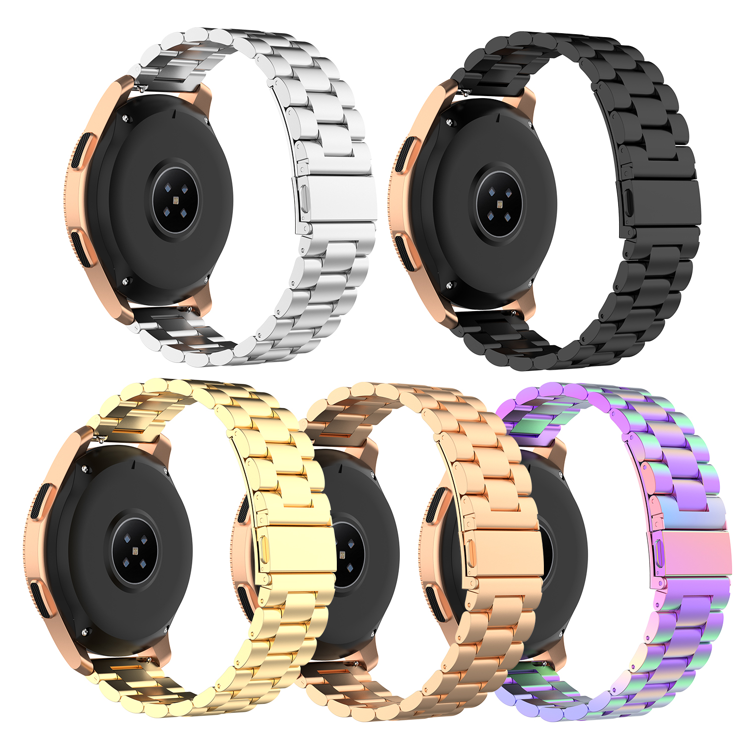 Steel Strap Stainless Steel Unisex 20mm Universal Steel Belt For Huami Amazfit BIP For Samsung Galaxy Watch For S3 Three Beads
