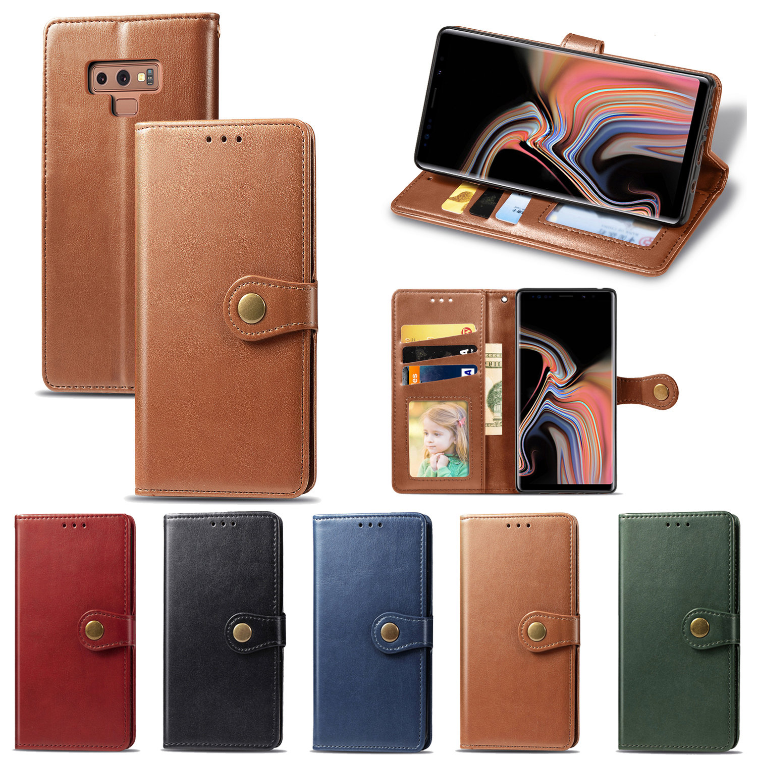 Business Flip Leather Wallet Cover Case For Samsung Galaxy A10 A20 A40 A50 A70 M10 S8 S9 S10e S10 Plus Note 8 9 10 Pro Lite
